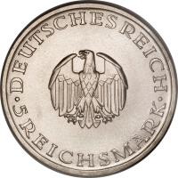 obverse of 5 Reichsmark - Gotthold Lessing (1929) coin with KM# 61 from Germany.