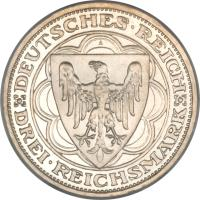 obverse of 3 Reichsmark - Magdeburg (1931) coin with KM# 72 from Germany.