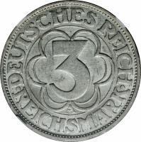 reverse of 3 Reichsmark - Nordhausen (1927) coin with KM# 52 from Germany.