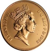 obverse of 2 Pence - Elizabeth II - 3'rd Portrait; Magnetic (1992 - 1997) coin with KM# 936a from United Kingdom. Inscription: ELIZABETH II D · G · REG · F · D · 1993 RDM