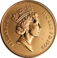 obverse of 2 Pence - Elizabeth II - 3'rd Portrait; Magnetic (1992 - 1997) coin with KM# 936a from United Kingdom. Inscription: ELIZABETH II D · G · REG · F · D · 1993 RDM