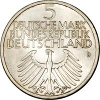 obverse of 5 Deutsche Mark - Germanic Museum (1952) coin with KM# 113 from Germany. Inscription: 5 DEUTSCHE MARK BUNDESREPUBLIK DEUTSCHLAND D