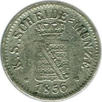 obverse of 1 Neugroschen / 10 Pfennige - Friedrich August II (1841 - 1856) coin with KM# 1159 from German States. Inscription: K.S.SCHEIDE-MÜNZE · 1856 ·