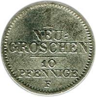 reverse of 1 Neugroschen / 10 Pfennige - Friedrich August II (1841 - 1856) coin with KM# 1159 from German States. Inscription: 1 NEU= GROSCHEN 10 PFENNIGE F