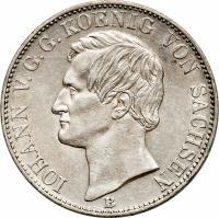 obverse of 1 Vereinsthaler - Johann (1861 - 1867) coin with KM# 1212 from German States. Inscription: IOHANN V.G.G. KOENIG VON SACHSEN B
