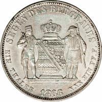 reverse of 1 Vereinsthaler - Johann (1861 - 1867) coin with KM# 1212 from German States. Inscription: SEGEN DES BERGBAUES EIN THALER 1864 XXX EIN PF.F.