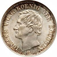 obverse of 1/6 Vereinsthaler - Johann (1860 - 1872) coin with KM# 1205 from German States. Inscription: IOHANN V. G. G. KOENIG VON SACHSEN F