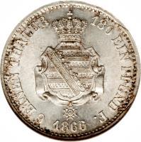 reverse of 1/6 Vereinsthaler - Johann (1860 - 1872) coin with KM# 1205 from German States. Inscription: 6 EINEN THALER 180 EIN PFUND F. 1866