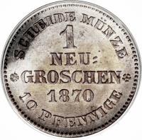 reverse of 1 Neugroschen / 10 Pfennige - Johann (1867 - 1873) coin with KM# 1221 from German States. Inscription: SCHEIDE MUNZE 1 NEU= GROSCHEN 1870 10 PFENNIGE