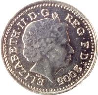 obverse of 5 Pence - Elizabeth II - Thistle; 4'th Portrait (1998 - 2008) coin with KM# 988 from United Kingdom. Inscription: ELIZABETH · II · D · G REG · F · D · 2004 IRB