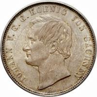 obverse of 1 Vereinsthaler - Johann (1861 - 1871) coin with KM# 1214 from German States. Inscription: IOHANN v.G.G. KOENIG VON SACHSEN