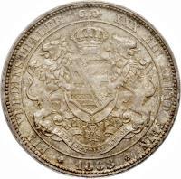 reverse of 1 Vereinsthaler - Johann (1861 - 1871) coin with KM# 1214 from German States. Inscription: EIN VEREINSTHALER XXX EIN PFUND FEIN * 1863 *