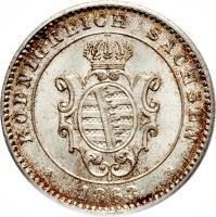 obverse of 20 Pfennige - Johann (1863 - 1866) coin with KM# 1220 from German States.