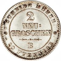 reverse of 20 Pfennige - Johann (1863 - 1866) coin with KM# 1220 from German States.