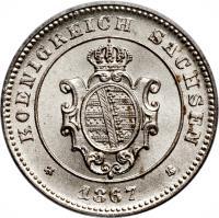 obverse of 1 Neugroschen / 10 Pfennige - Johann (1863 - 1867) coin with KM# 1219 from German States. Inscription: KOENIGREICH SACHSEN * 1867 *