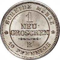 reverse of 1 Neugroschen / 10 Pfennige - Johann (1863 - 1867) coin with KM# 1219 from German States. Inscription: SCHEIDE MUNZE 1 NEU= GROSCHEN B 10 PFENNIGE