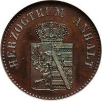 obverse of 3 Pfennige - Alexander Carl (1861 - 1867) coin with KM# 98 from German States. Inscription: HERZOGTHUM ANHALT