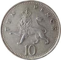 reverse of 10 Pence - Elizabeth II - 3'rd Portrait (1992 - 1997) coin with KM# 938b from United Kingdom. Inscription: TEN PENCE 10
