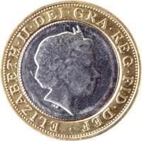 obverse of 2 Pounds - Elizabeth II - 4'th Portrait (1998 - 2015) coin with KM# 994 from United Kingdom. Inscription: ELIZABETH · II · DEI · GRA · REG · FID · DEF · IRB