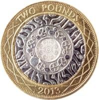 reverse of 2 Pounds - Elizabeth II - 4'th Portrait (1998 - 2015) coin with KM# 994 from United Kingdom. Inscription: TWO POUNDS 2013