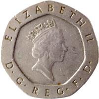 obverse of 20 Pence - Elizabeth II - 3'rd Portrait (1985 - 1997) coin with KM# 939 from United Kingdom. Inscription: ELIZABETH II D · G · REG · F · D · RDM