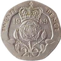 reverse of 20 Pence - Elizabeth II - 3'rd Portrait (1985 - 1997) coin with KM# 939 from United Kingdom. Inscription: TWENTY PENCE 19 97 W G 20