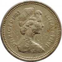 obverse of 1 Pound - Elizabeth II - Heraldic Emblems: UK - Royal Arms; 2'nd Portrait (1983) coin with KM# 933 from United Kingdom. Inscription: D · G · REG · F · D · 1983 ELIZABETH · II