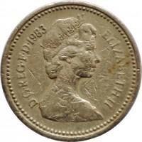 obverse of 1 Pound - Elizabeth II - Heraldic Emblems: UK - Royal Arms; 2'nd Portrait (1983) coin with KM# 933 from United Kingdom. Inscription: D · G · REG · F · D · 1983 ELIZABETH · II