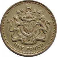 reverse of 1 Pound - Elizabeth II - Heraldic Emblems: UK - Royal Arms; 2'nd Portrait (1983) coin with KM# 933 from United Kingdom. Inscription: ONE POUND HONI SOIT QUI MAL Y PENSE DIEU ET MON DROIT