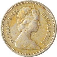 obverse of 1 Pound - Elizabeth II - Royal Diadem: Scotland - Thistle; 2'nd Portrait (1984) coin with KM# 934 from United Kingdom. Inscription: D · G · REG · F · D · 1984 ELIZABETH · II