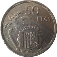 reverse of 50 Pesetas - Francisco Franco (1957) coin with KM# 788 from Spain. Inscription: 50 PTAS UNA GRANDE LIBRE PLUS ULTRA 59