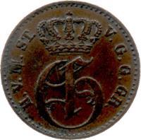 obverse of 3 Pfenninge - Georg (1855 - 1859) coin with KM# 90 from German States. Inscription: H.V.M.ST.V.G.G.GR. MONOGRAMME DE GEORGES