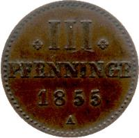 reverse of 3 Pfenninge - Georg (1855 - 1859) coin with KM# 90 from German States.