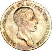 obverse of 1 Reichsthaler - Friedrich Wilhelm III (1809 - 1816) coin with KM# 387 from German States. Inscription: FRIEDR · WILHELM III KŒNIG VON PREUSSEN