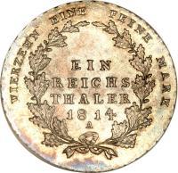 reverse of 1 Reichsthaler - Friedrich Wilhelm III (1809 - 1816) coin with KM# 387 from German States. Inscription: VIERZEHN EINE FEINE MARK EIN REICHS THALER 1814 A