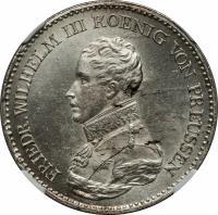 obverse of 1 Thaler - Friedrich Wilhelm III (1816 - 1822) coin with KM# 396 from German States. Inscription: FRIEDR.WILHELM III KOENIG VON PREUSSEN