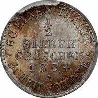 reverse of 1/2 Silber Groschen - Friedrich Wilhelm III (1821 - 1840) coin with KM# 409 from German States. Inscription: · 60 EINEN THALER · 1/2 SILBER GROSCHEN 1834 A SCHEIDE MÜNZE