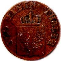 obverse of 1 Pfenning - Friedrich Wilhelm IV (1843 - 1845) coin with KM# 447 from German States. Inscription: 360 EINEN THALER