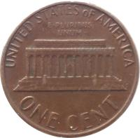 reverse of 1 Cent - Lincoln Memorial Cent (1959 - 1982) coin with KM# 201 from United States. Inscription: UNITED STATES OF AMERICA E · PLURIBUS · UNUM · ONE CENT