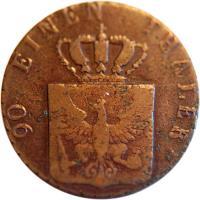 obverse of 4 Pfenninge - Friedrich Wilhelm III (1821 - 1840) coin with KM# 408 from German States. Inscription: 90 EINEN THALER