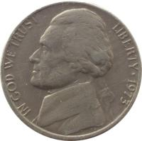obverse of 5 Cents - Jefferson Nickel; 1'st Portrait (1938 - 2003) coin with KM# 192 from United States. Inscription: IN GOD WE TRUST LIBERTY * 2004 FS