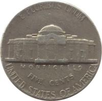 reverse of 5 Cents - Jefferson Nickel; 1'st Portrait (1938 - 2003) coin with KM# 192 from United States. Inscription: E PLURIBUS UNUM MONTICELLO FIVE CENTS UNITED STATES OF AMERICA