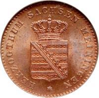 obverse of 2 Pfennige - Bernhard II (1860 - 1866) coin with KM# 171 from German States. Inscription: HERZOGTHUM SACHSEN MEININGEN