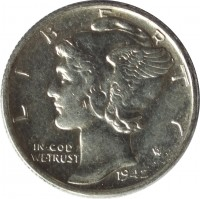 obverse of 1 Dime - Mercury Dime (1916 - 1945) coin with KM# 140 from United States. Inscription: LIBERTY IN GOD WE TRUST 1942