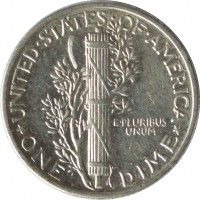 reverse of 1 Dime - Mercury Dime (1916 - 1945) coin with KM# 140 from United States. Inscription: UNITED · STATES · OF · AMERICA E · PLURIBUS UNUM * ONE DIME *