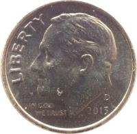 obverse of 1 Dime - Roosevelt Dime (1965 - 2015) coin with KM# 195a from United States. Inscription: LIBERTY IN GOD WE TRUST 2005 P JS