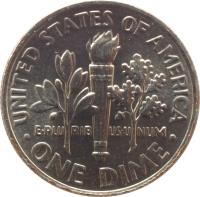 reverse of 1 Dime - Roosevelt Dime (1965 - 2015) coin with KM# 195a from United States. Inscription: E · PLU RIB US · U NUM UNITED STATES OF AMERICA · ONE DIME ·