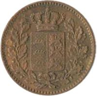 obverse of 1/2 Kreuzer - Wilhelm I (1858 - 1864) coin with KM# 603 from German States.