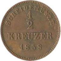 reverse of 1/2 Kreuzer - Wilhelm I (1858 - 1864) coin with KM# 603 from German States. Inscription: SCHEIDEMÜNZE 1/2 KREUZER 1858