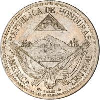 obverse of 1/2 Real (1869 - 1871) coin with KM# 32 from Honduras. Inscription: REPUBLICA DE HONDURAS AMERICA CENTRAL